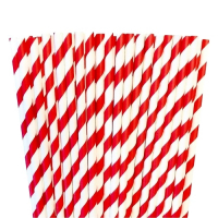 Red paper striped straws